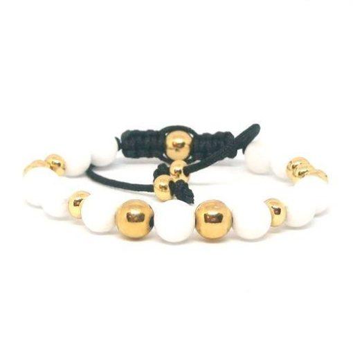 Fehér jáde arany golyós cord karkötő