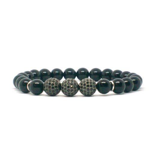 Ónix 3 darab fekete cirkón golyós karkötő