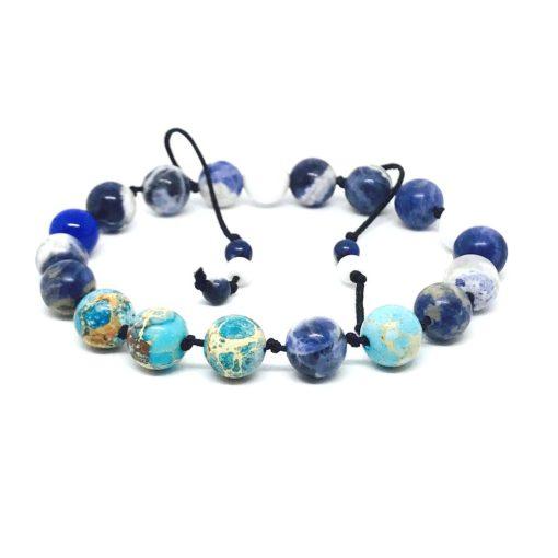 Szodalit, tenger jáspis, fehér és kék jáde csomózott karkötő