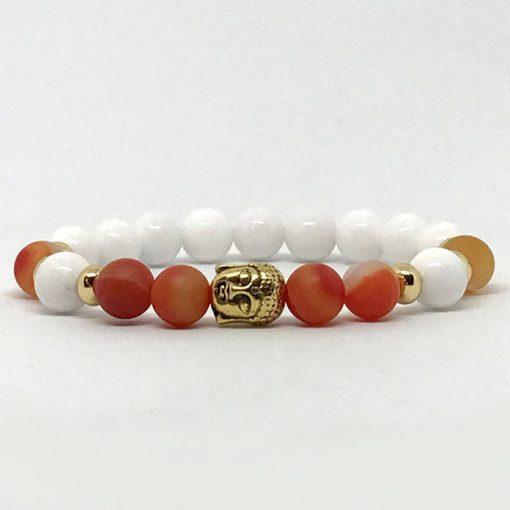 Tejkvarc és narancs achát buddha karkötő