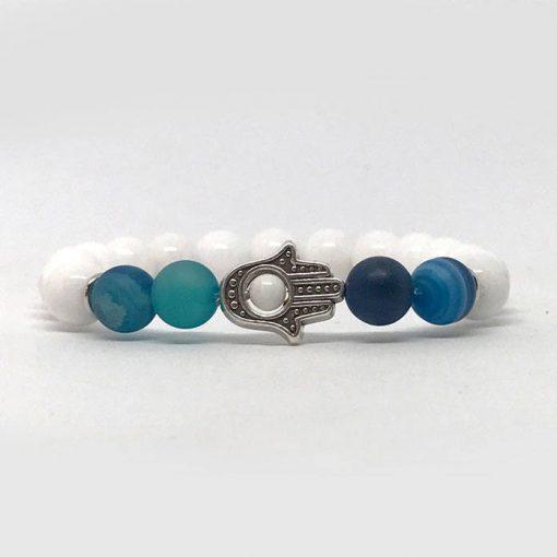 Tejkvarc és kék achát hamsa ásvány karkötő