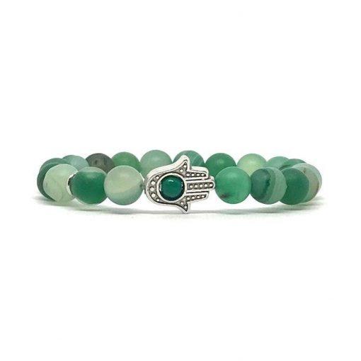 Zöld achát hamsa ásvány karkötő