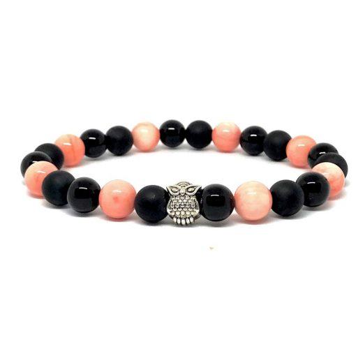 Rózsaszín korall és ónix bagoly karkötő