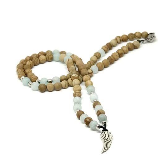 Homokkő és matt amazonit angyalszárny medálos lánc