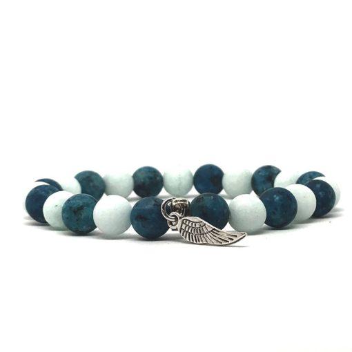 Amazonit, festett kvarc és matt kék achát angyalszárny medálos karkötő