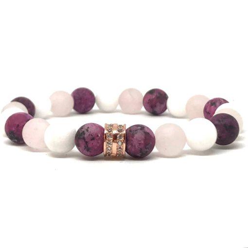 Fehér Jáde, Rózsakvarc és festett Kvarc Rózsaarany Cirkón Gyűrűs karkötő