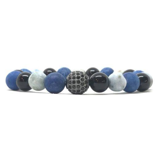 Crazy kék achátok és ónix fekete cirkón golyós karkötő
