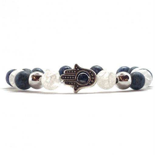 Hegyikristály és kék Crazy Achát Hamsa kéz karkötő