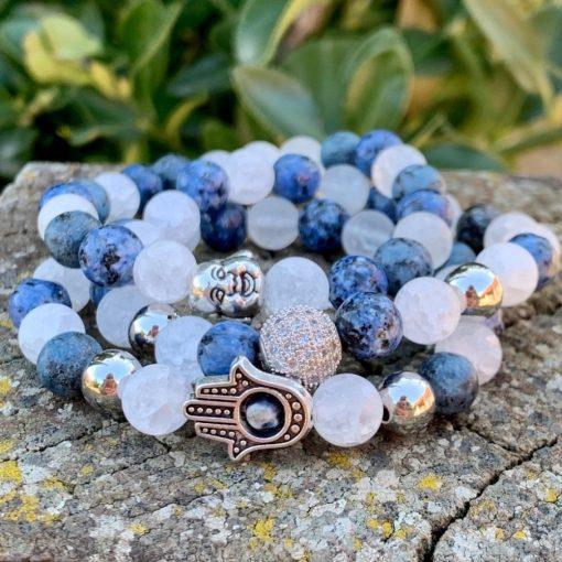 Hegyikristály és kék Crazy Achát ásvány karkötő szett
